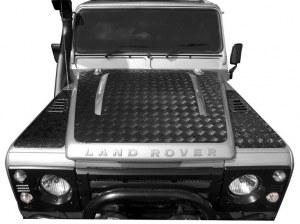 Protection de capot en aluminium noir 3 mm pour Defender Td4 (2007)